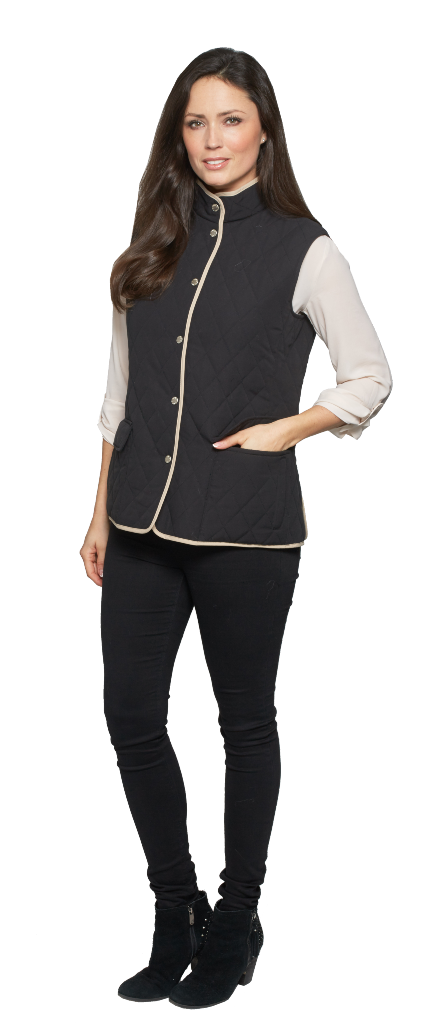db306 Womens Diamond Quilt Check Lined Gilet