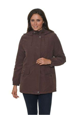 db584 Womens Warm Padded Hooded Brown Jacket
