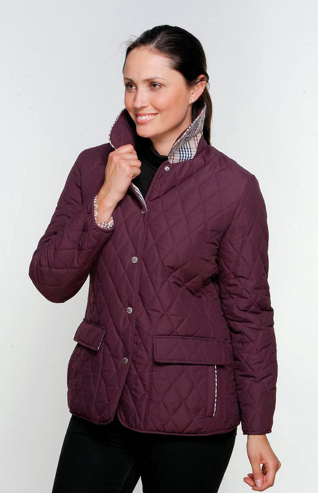 db906 Womens Check Lined Diamond Quilted Jacket : purple quilted jacket - Adamdwight.com