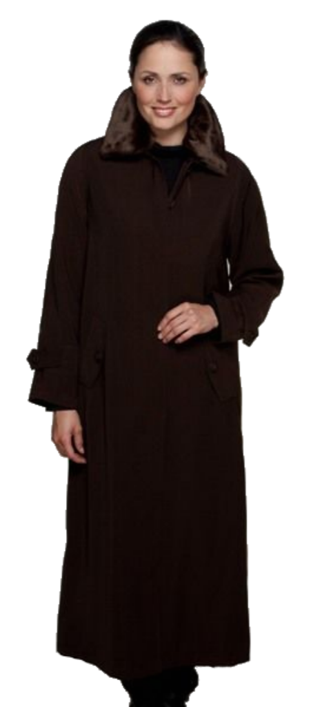 Womens Brown Luxury Faux Silk Full Length Coat db3031