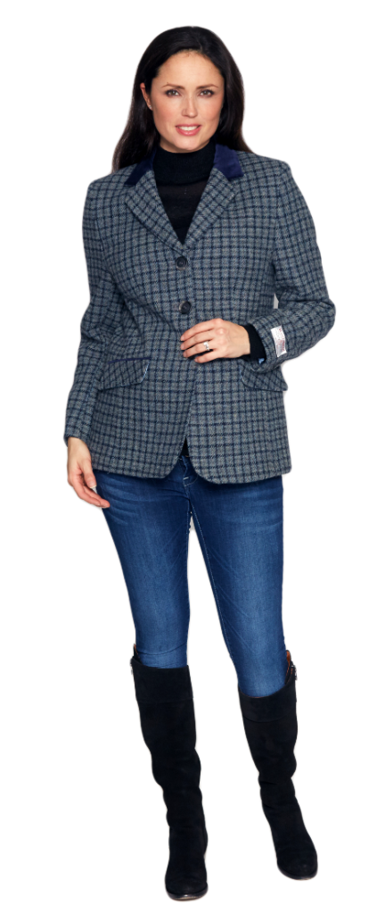 Womens Luxury Harris Tweed Blue Check Blazer Jacket K444H