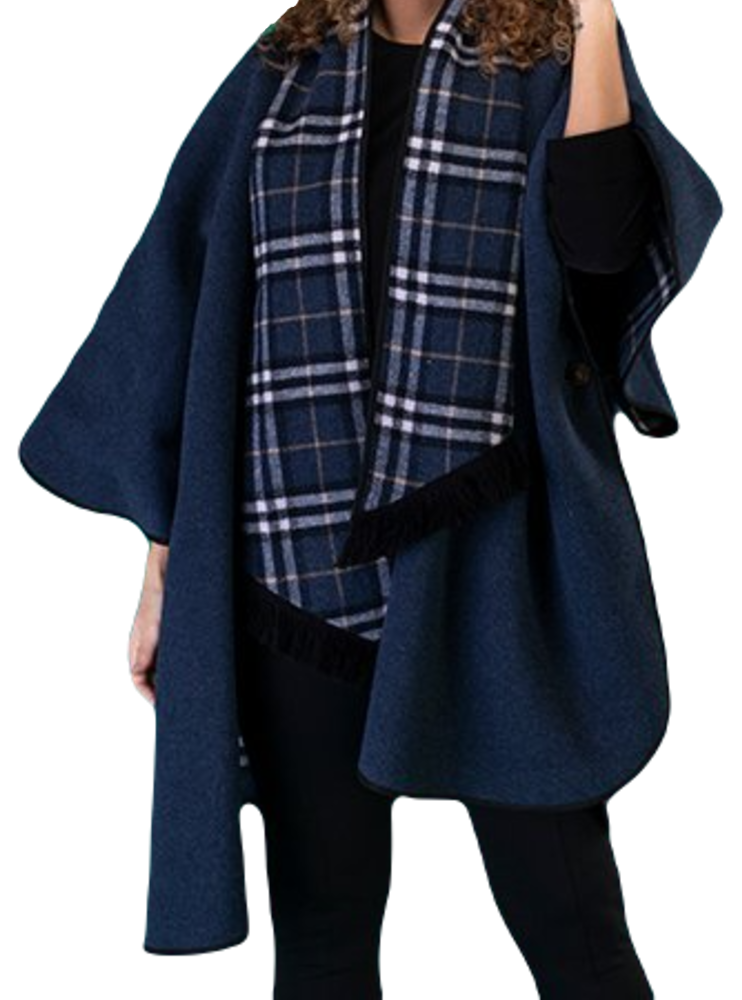 Womens Navy Reversible Check Wool Cape K1330