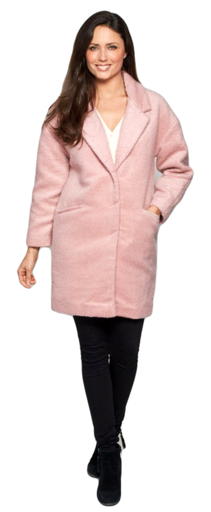 Womens Pink Boucle Fashion Coat db1575