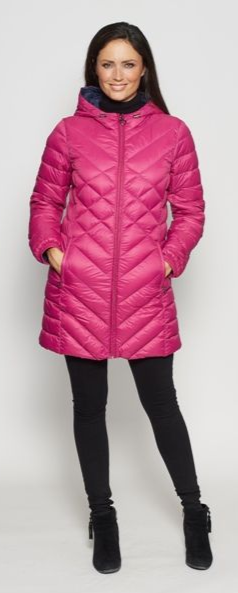 Womens Pink Feather Down Ultra Light Quilted Coat db724