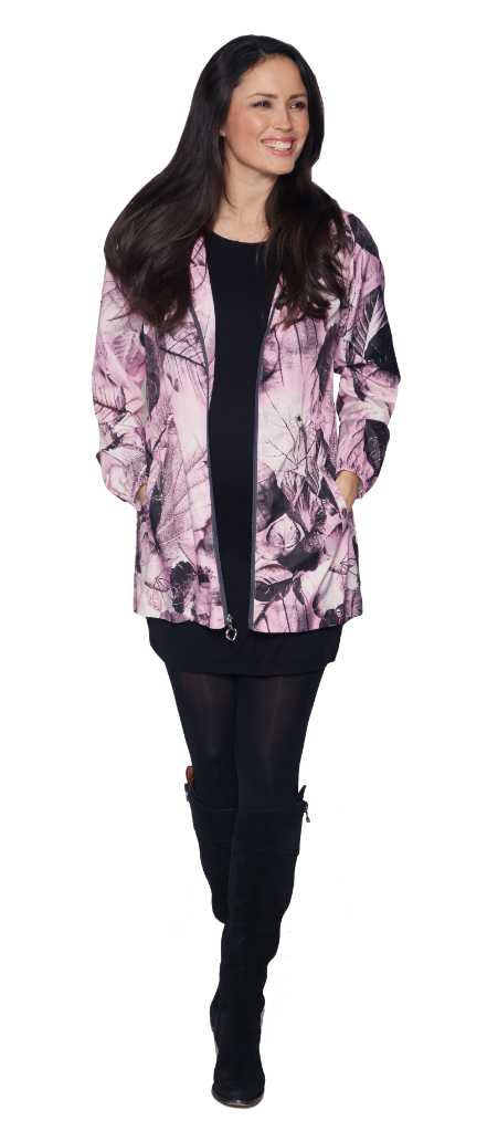 Womens Pink Flower Lightweight Travel Jacket db3127
