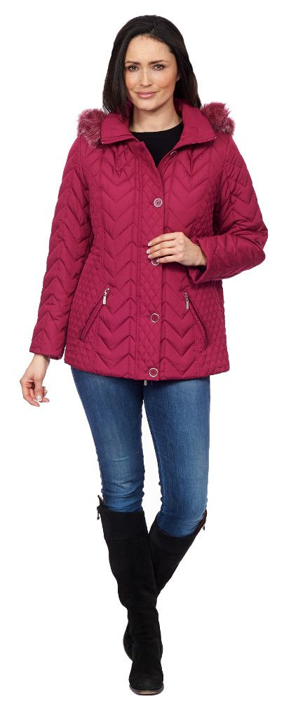 Womens ❤️Plus❤️ Quilted Pink Parka acket db179