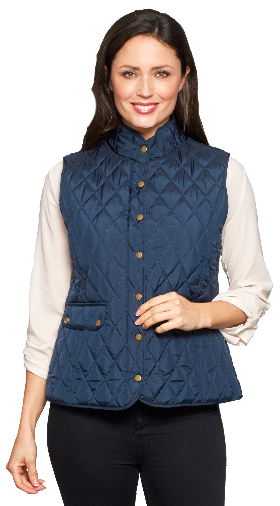 Womens Short Quilted Zip Up Navy Gilet db602103