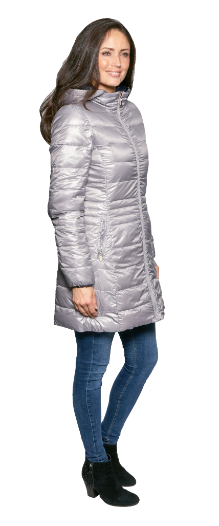 Womens Silver-Navy Reversible Feather Down Padded db924 Coat