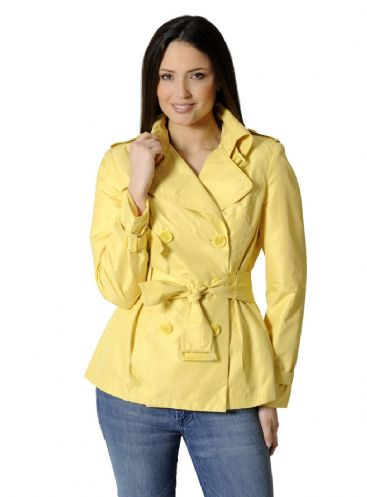 Womens Yellow Lightweight Trench Travel Jacket db741